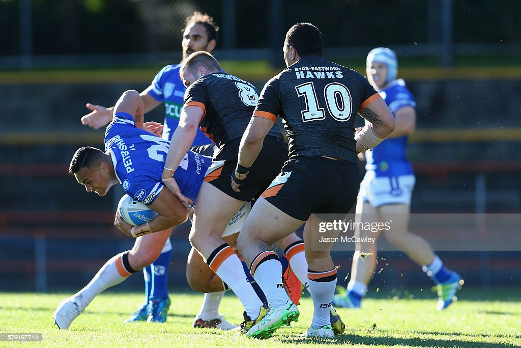 Joshua Tuilagi of the Newtown Jets is tackled during the round 19 Intrust Super Premiership NSW match between the Wests Tigers and the Newtown Jets at Leichhardt Oval on July 23, 2016 in Sydney, Australia.