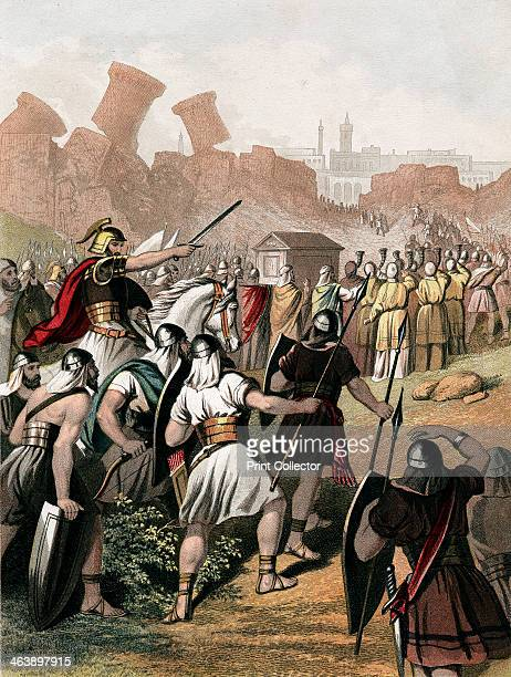Joshua urges on his army outside the walls of Jericho c1860 Trumpeters process around the walls carrying the Ark of the Covenant and the walls of the...
