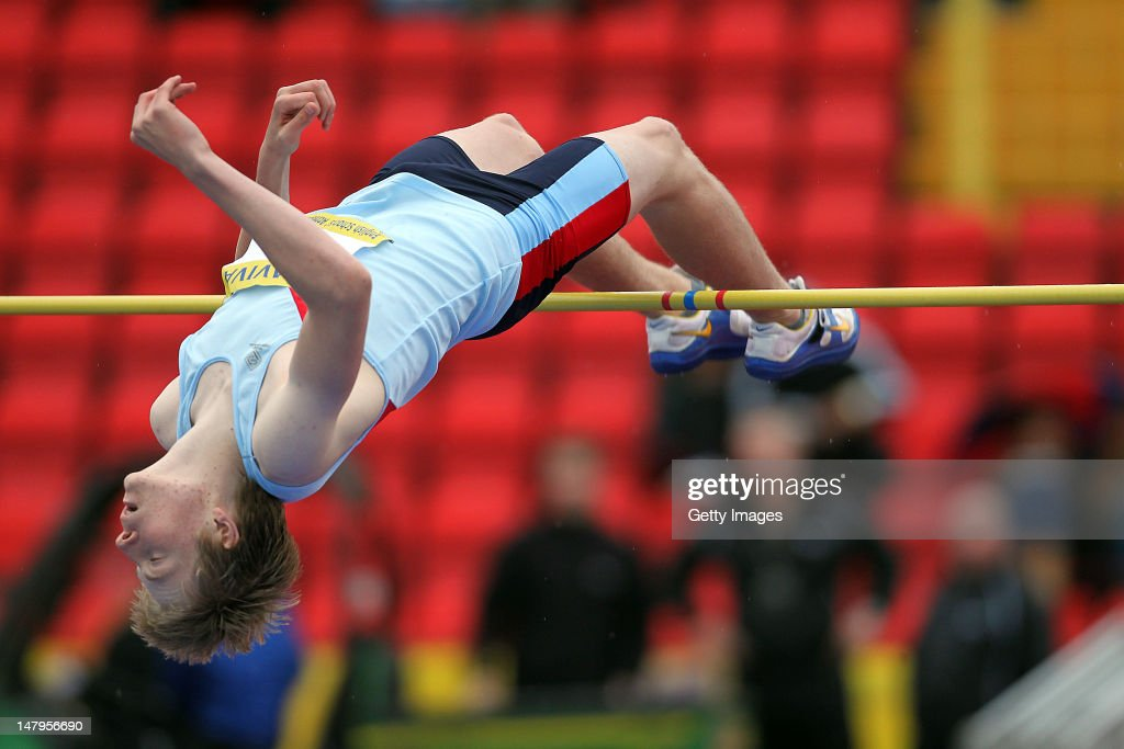 Joshua Watson competes in the Senior Boys High Jump Final during day one of the Aviva English Schools Track and Field Championships at the Gateshead International Stadium on July 6, 2012 in Gateshead, England. Search Aviva Athletics on Facebook to Back The Team.