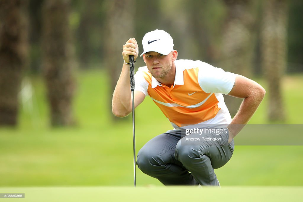 Joshua White of England lines up a putt on the seventh green during the second round of the Trophee Hassan II at Royal Golf Dar Es Salam on May 6, 2016 in Rabat, Morocco.