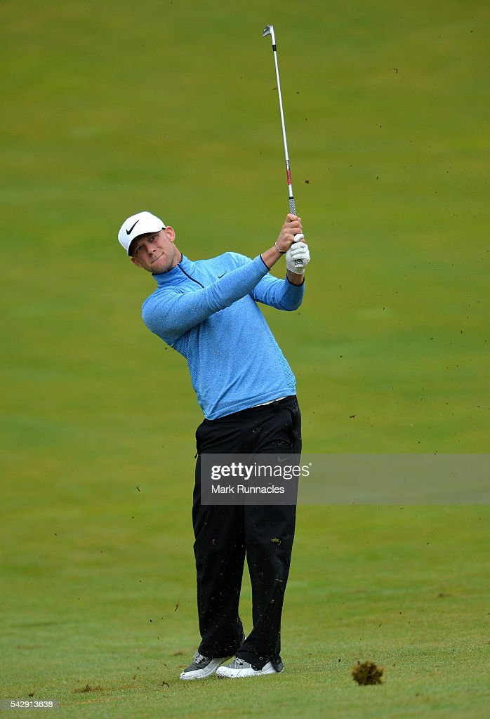 Joshua White of England on his second shot to the 1st during the third day of the 2016 SSE Scottish Hydro Challenge at the MacDonald Spey Valley Golf Course on June 25, 2016 in Aviemore, Scotland.