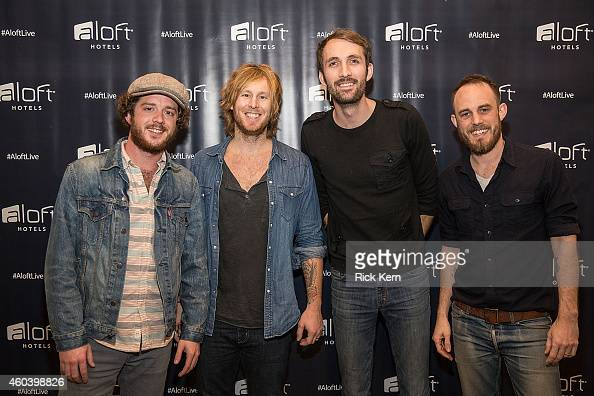Joshua Wilkerson Jamey Ice Josh Jenkins and Denton Hunker of Green River Ordinance pose during Aloft Hotels 100 Days Of Music at Aloft Austin at the...