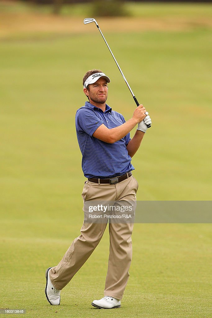 Joshua Younger of Australia plays a shot on the 17th hole during the Open International Final Qualifying Australasia day one at Kingston Heath Golf Club on January 29, 2013 in Melbourne, Australia.