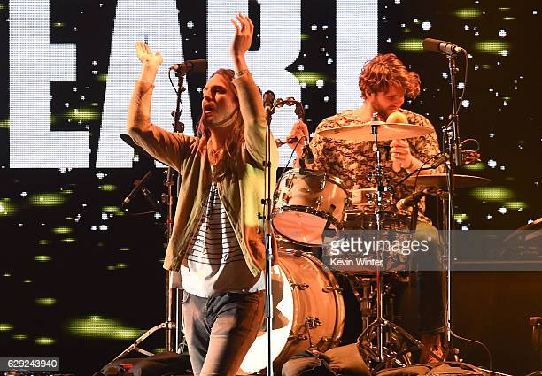 Josiah Johnson and drummer Tyler Williams of the band The Head and The Heart perform onstage at 1067 KROQ Almost Acoustic Christmas 2016 Night 2 at...