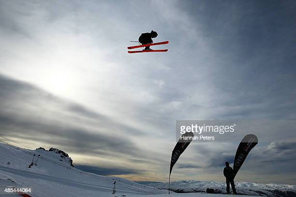 Josiah Wells of New Zealand competes in the FIS Freestyle Ski World Cup Slopestyle Finals during the Winter Games NZ at Cardrona Alpine Resort on...