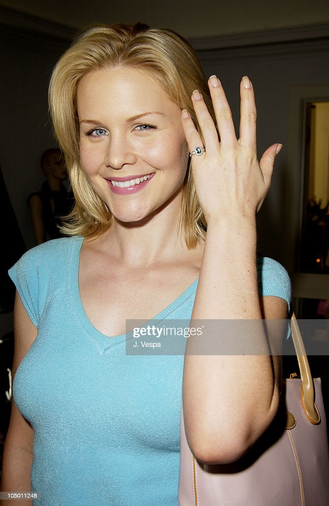 Josie Davis wearing a Tracy Allen pinky ring during The Cabana Beauty Buffet Day 1 at The Chateau Marmont Hotel in Los Angeles California United...