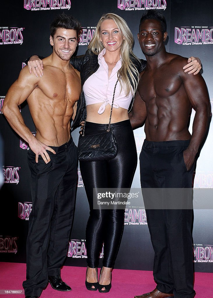 <a gi-track='captionPersonalityLinkClicked' href=/galleries/search?phrase=Josie+Gibson&family=editorial&specificpeople=7045607 ng-click='$event.stopPropagation()'>Josie Gibson</a> is seen with some topless male models at the Dreamboys hold a Gala performance at Rise Supperclub on October 16, 2013 in London, England.
