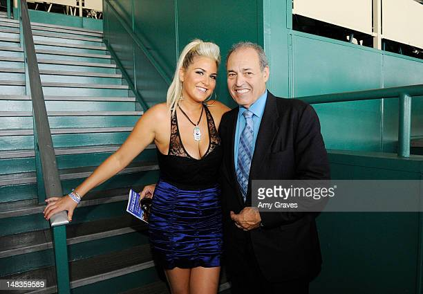Josie Goldberg and Phil Daniels attend the debut of reality TV star and playboy model Josie Goldberg's personal race horse at Hollywood Park on July...