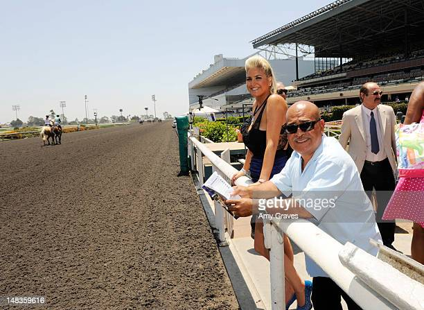 Josie Goldberg and Walther Solis attend the debut of reality TV star and playboy model Josie Goldberg's personal race horse at Hollywood Park on July...