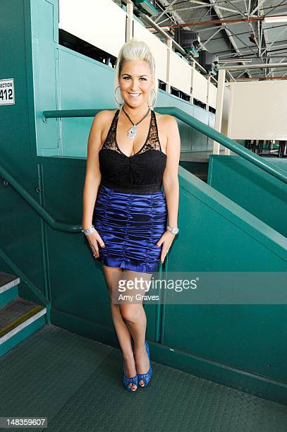 Josie Goldberg attends the debut of her personal race horse at Hollywood Park on July 14 2012 in Inglewood California
