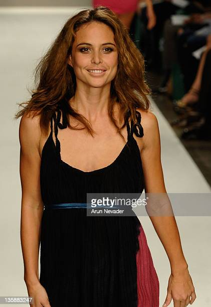 Josie Maran walks the runway at The Evidence of Evolution Spring 2008 fashion show during Mercedes Benz Fashion Week held at Smashbox Studios on...