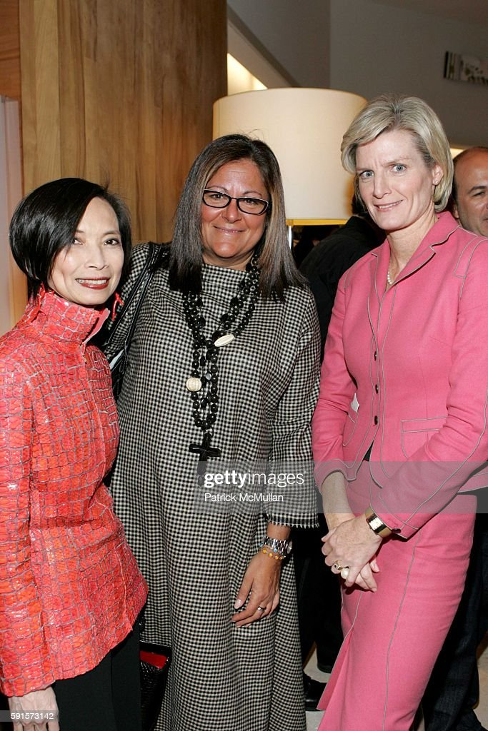 Josie Natori Fern Mallis and Andrée Corroon attend Saks Fifth Ave Holiday Press Luncheon at Saks Fifth Ave on December 13 2005 in New York City