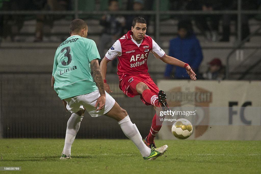 Josimar Lima of FC Dordrecht, Adam Maher of AZ during the Dutch Cup match between FC Dordrecht and AZ Alkmaar at the GN Bouw Stadium on December 18, 2012 in Dordrecht, The Netherlands.