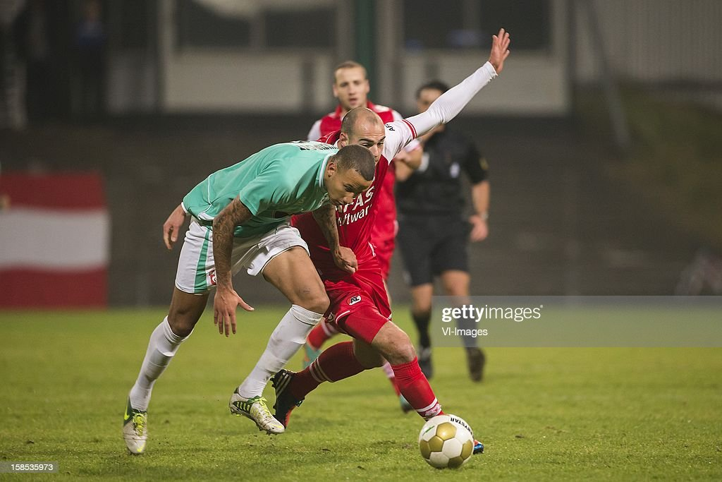 Josimar Lima of FC Dordrecht, Ruud Boymans of AZ during the Dutch Cup match between FC Dordrecht and AZ Alkmaar at the GN Bouw Stadium on December 18, 2012 in Dordrecht, The Netherlands.