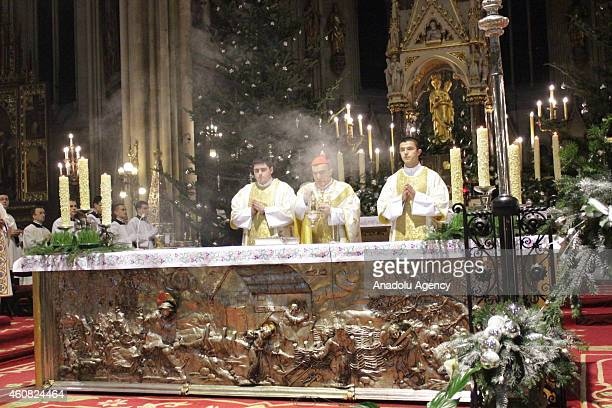 Josip Bozanic Croatian Cardinal of the Roman Catholic Church is seen at the Zagreb Cathedral during a Christmas night mass held to celebrate birth of...