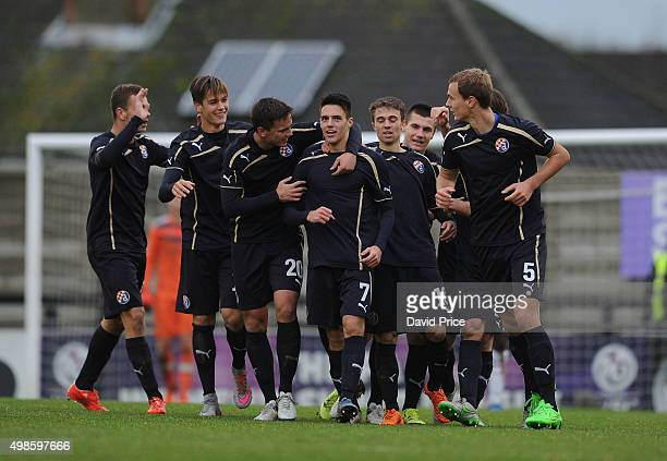 Josip Brekalo celebrates scoring Zagreb's 1st goal during the match between Arsenal U19 and Dinamo Zagreb U19 in the UEFA Youth League on November 24...