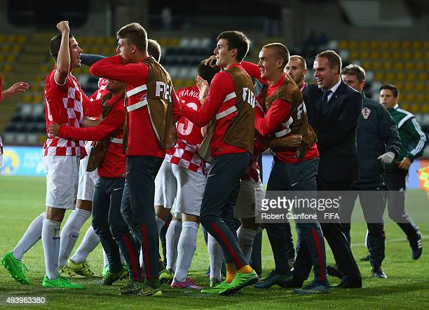 Josip Brekalo of Croatia celebrates with team mates after scoring a goal during the FIFA U17 World Cup Group A match between Croatia and Nigeria at...