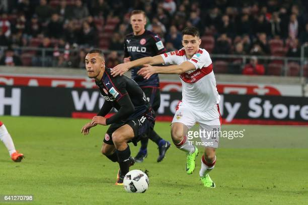 Josip Brekalo of Stuttgart and Jerome Kiesewetter of Fortuna Duesseldorf battle for the ball during the Second Bundesliga match between VfB Stuttgart...