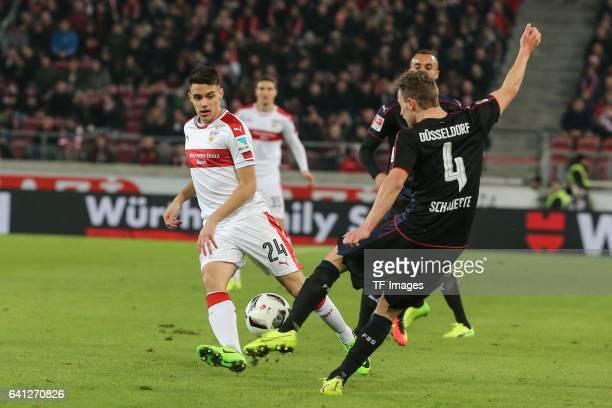 Josip Brekalo of Stuttgart and Julia Schauerte of Fortuna Duesseldorf battle for the ball during the Second Bundesliga match between VfB Stuttgart...