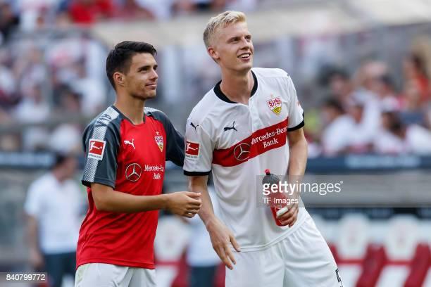 Josip Brekalo of Stuttgart and Timo Baumgartl of Stuttgart celebrate their win during the Bundesliga match between VfB Stuttgart and 1FSV Mainz 05 at...