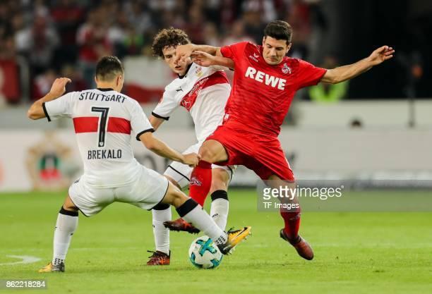 Josip Brekalo of Stuttgart Benjamin Pavard of Stuttgart and Milos Jojic battle for the ball during the Bundesliga match between VfB Stuttgart and 1...