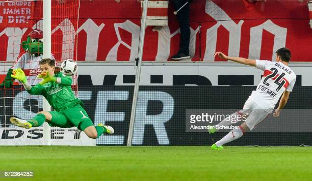 Josip Brekalo of Stuttgart challenges Daniel Mesenhoeler of Berlin during the Second Bundesliga match between VfB Stuttgart and 1 FC Union Berlin at...
