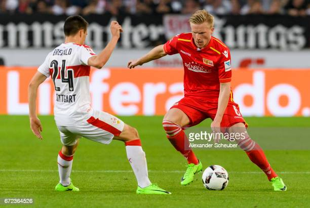 Josip Brekalo of Stuttgart challenges Kristian Pedersen of Berlin during the Second Bundesliga match between VfB Stuttgart and 1 FC Union Berlin at...