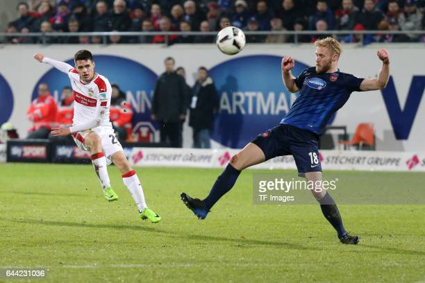 Josip Brekalo of Stuttgart scores a goal during the second Bundesliga match between 1 FC Heidenheim and VfB Stuttgart at VoithArena on February 16...