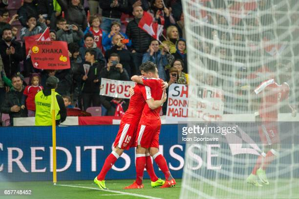 Josip Drmic and Granit Xhaka celebrates first goal during the World Cup Qualifiers group match between Switzerland and Latvia on March 25 at Stade de...