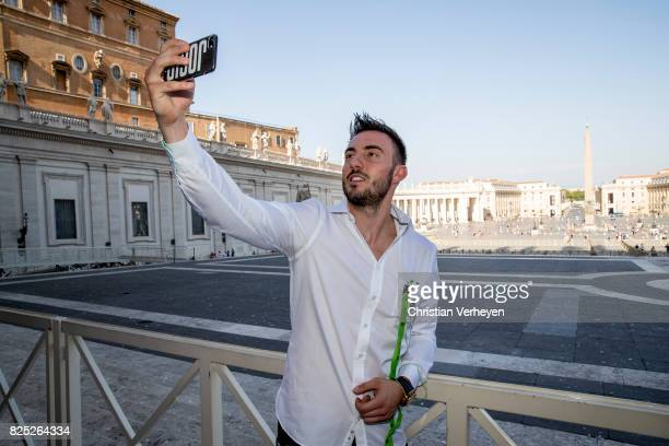 Josip Drmic at the St Peter Cathedral during the Team of Borussia Moenchengladbach visit Vatican City on August 01 2017 in Vatican City Vatican