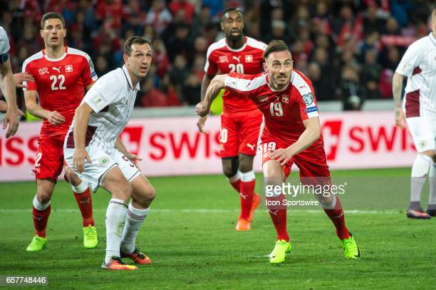 Josip Drmic in action during the World Cup Qualifiers group match between Switzerland and Latvia on March 25 at Stade de Geneva in Geneva Switzerland