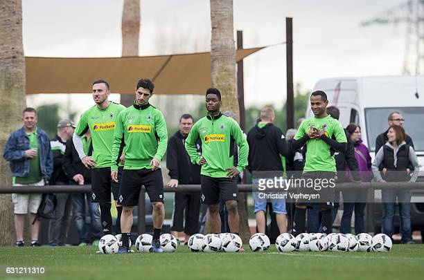 Josip Drmic Lars Stindl BaMuaka Simakala and Raffael of Borussia Moenchengladbach during a Training Session at Borussia Moenchengladbach Training...