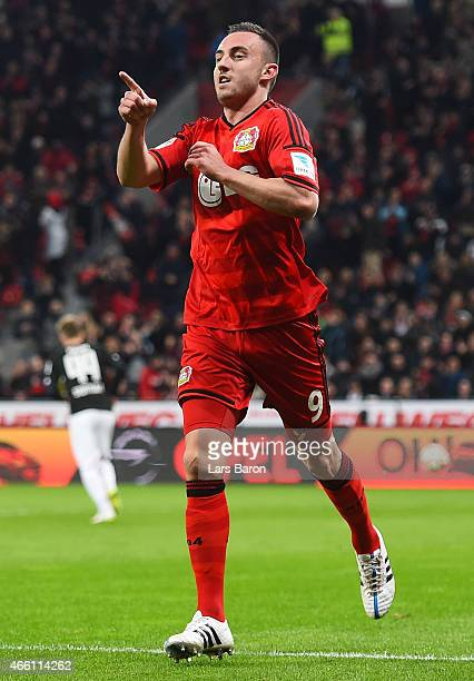 Josip Drmic of Bayer 04 Leverkusen celebrates after scoring the second goal during the Bundesliga match between Bayer 04 Leverkusen and VfB Stuttgart...