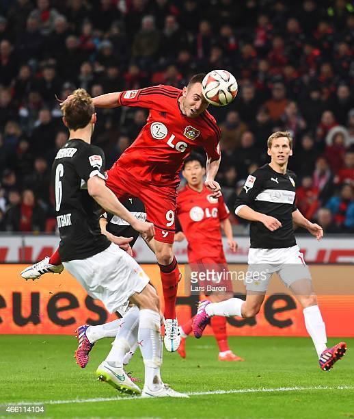 Josip Drmic of Bayer 04 Leverkusen scores the second goal during the Bundesliga match between Bayer 04 Leverkusen and VfB Stuttgart at BayArena on...