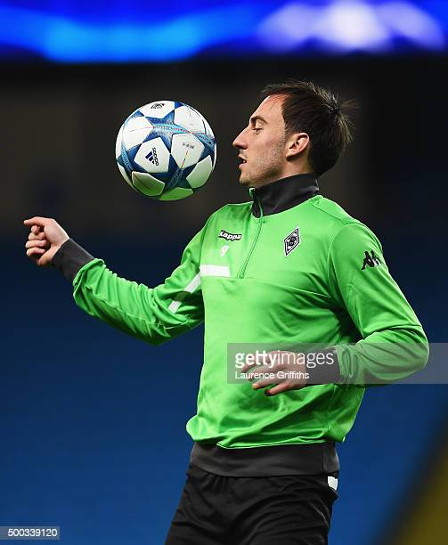 Josip Drmic of Borussia Moenchengladbach controls the ball during a VfL Borussia Moenchengladbach training session prior to the UEFA Champions League...