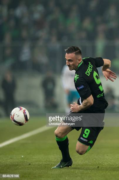 Josip Drmic of Borussia Moenchengladbach controls the ball during the UEFA Europa League match between Borussia Moenchengladbach and FC Schalke 04 at...
