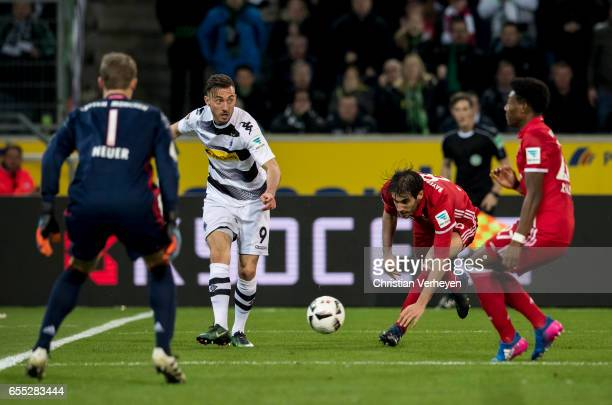 Josip Drmic of Borussia Moenchengladbach controls the ball during the Bundesliga Match between Borussia Moenchengladbach and Bayern Muenchen at...