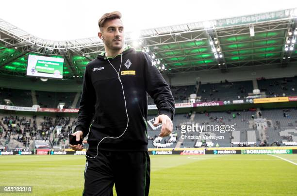 Josip Drmic of Borussia Moenchengladbach prior the Bundesliga Match between Borussia Moenchengladbach and Bayern Muenchen at BorussiaPark on March 19...