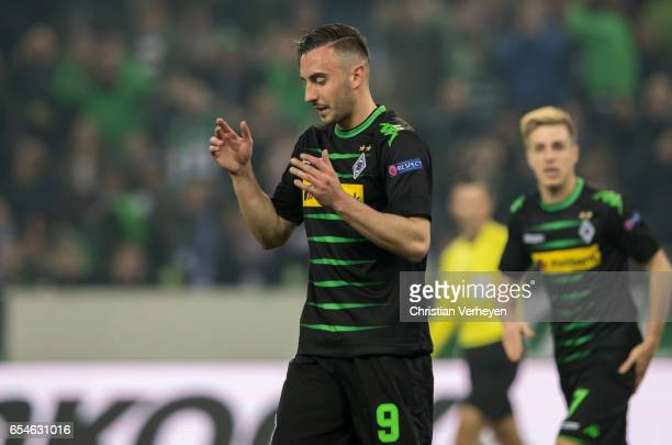 Josip Drmic of Borussia Moenchengladbach reacts after missing to score during the UEFA Europa League match between Borussia Moenchengladbach and FC...