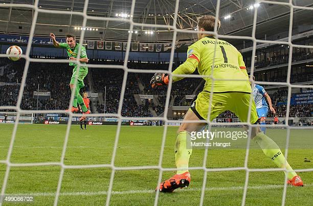Josip Drmic of Gladbach scores his team's second goal during the Bundesliga match between 1899 Hoffenheim and Borussia Moenchengladbach at Wirsol...