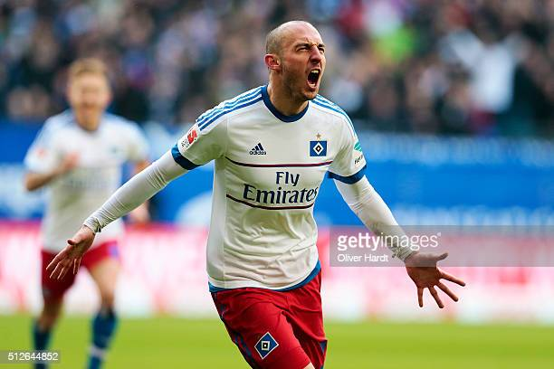 Josip Drmic of Hamburg celebrates after scoring their first goal during the First Bundesliga match between Hamburger SV and FC Ingolstadt at...