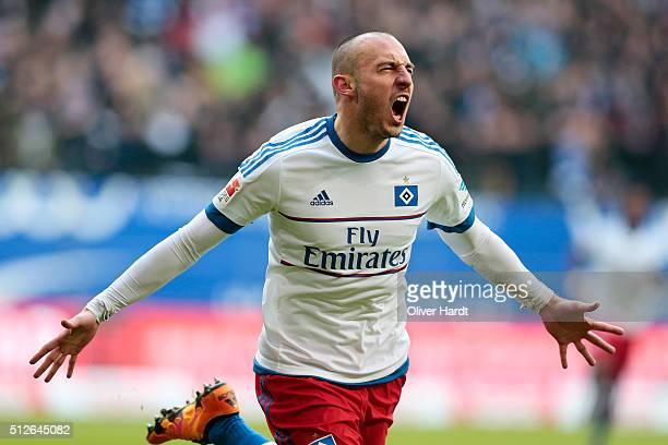 Josip Drmic of Hamburg celebrates after scoring their first goal during the First Bundesliga match between Hamburger SV and FC Ingolstadt at...
