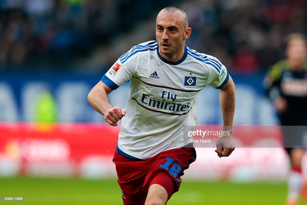 Josip Drmic of Hamburg in action during the First Bundesliga match between Hamburger SV and 1. FC Koeln at Volksparkstadion on February 7, 2016 in Hamburg, Germany.