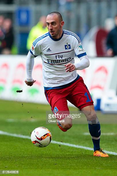 Josip Drmic of Hamburg in action during the First Bundesliga match between Hamburger SV and FC Ingolstadt at Volksparkstadion on February 27 2016 in...