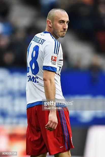 Josip Drmic of Hamburg looks on during the Bundesliga match between Hamburger SV and 1 FC Koeln at Volksparkstadion on February 7 2016 in Hamburg...