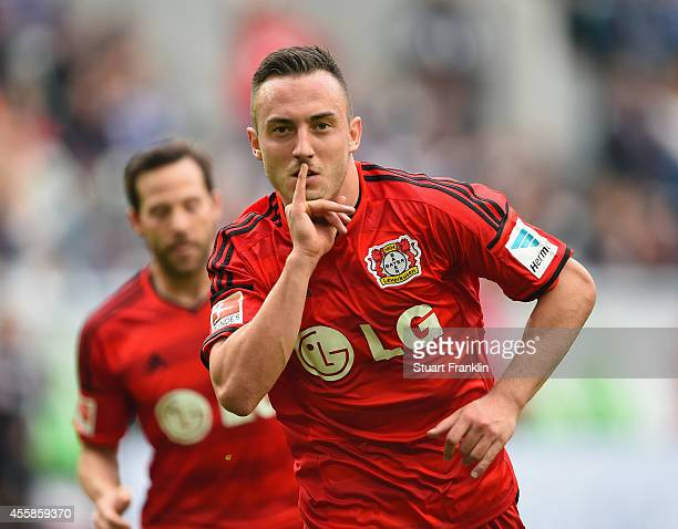 Josip Drmic of Leverkusen celebrates scoring his goal during the Bundesliga match between VfL Wolfsburg and Bayer 04 Leverkusen at Volkswagen Arena...