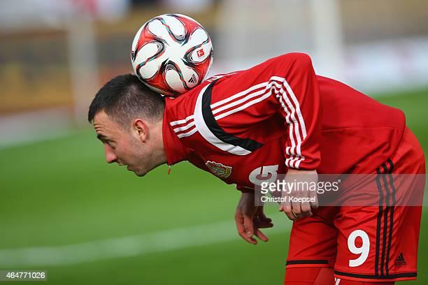 Josip Drmic of Leverkusen juggles with the ball prior to the Bundesliga match between Bayer 04 Leverkusen and SC Freiburg at BayArena on February 28...