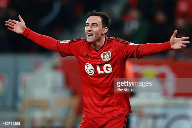 Josip Drmic of Leverkusen reacts during the Bundesliga match between Bayer 04 Leverkusen and Eintracht Frankfurt at BayArena on December 20 2014 in...