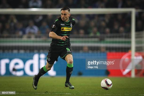 Josip Drmic of Moenchengladbach controls the ball during the UEFA Europa League Round of 16 second leg match between Borussia Moenchengladbach and FC...