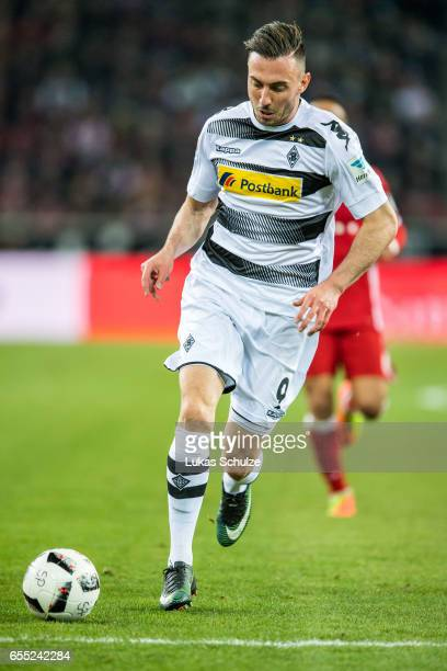 Josip Drmic of Moenchengladbach in action during the Bundesliga match between Borussia Moenchengladbach and Bayern Muenchen at BorussiaPark on March...